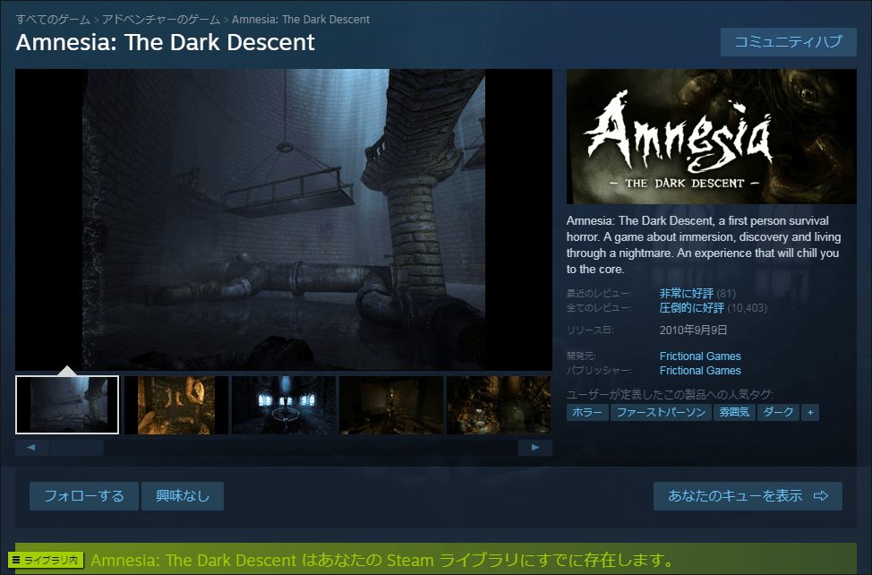 Steam Store Amnesia: The Dark Descent