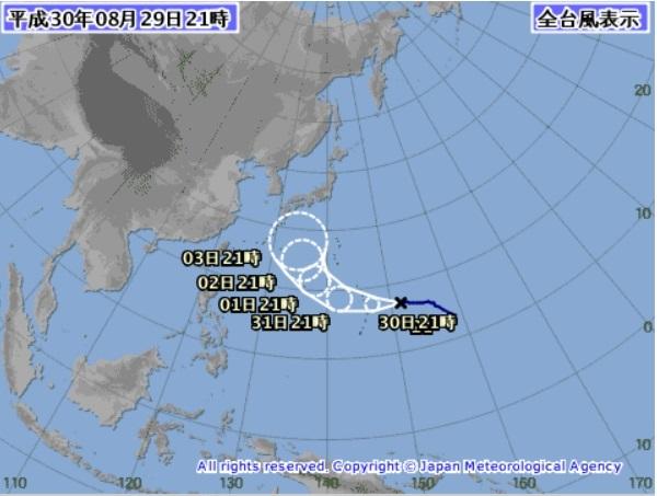 20180829台風21号予想図