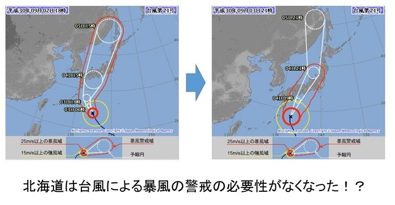 20180903二つの台風予想進路図