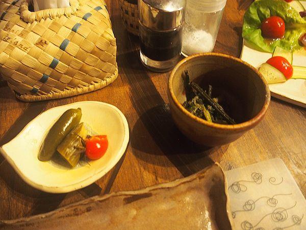 島野菜のピクルスとわらびのナムル