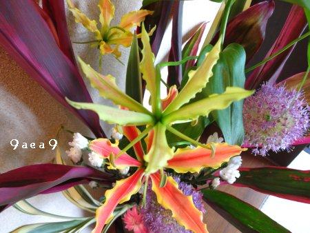 先日感動したブログの影響を受けて床の間の生け花写真を撮ってみた