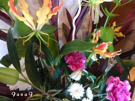 先日感動したブログの影響を受けて床の間の生け花写真を撮ってみた3
