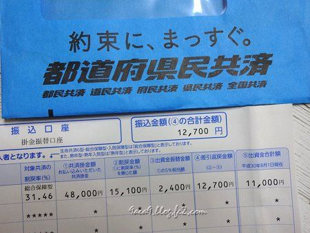 約束に、まっすぐ。 都道府県民共済 振込額 12,700円
