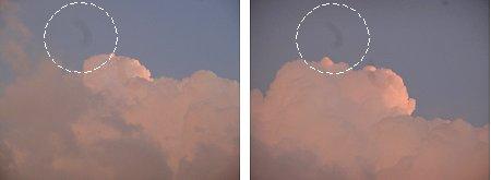 夕焼けだけど雲だらけ デジカメに影