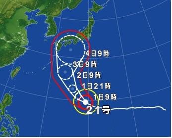 台風21号 H30.9.1予想