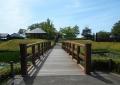 外の曲輪から見た復元木橋