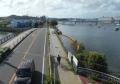 歩道橋から見る平潟湾プロムナード