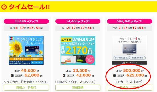 i2iポイントでJCBカードWが最高額