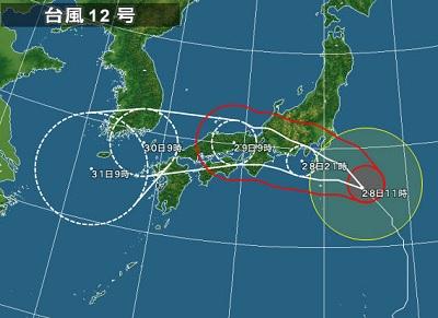 台風12号の進路 2018-7-28 (1)