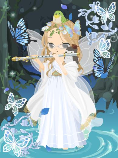 フルートを奏でる蝶の妖精