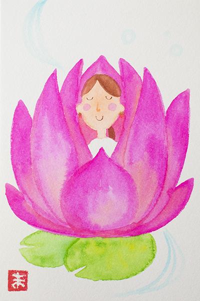 カラーセラピー イラスト 花に包まれ