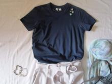 ユニクロユーのクルーネックTシャツ とワイドパンツコーデ (4)