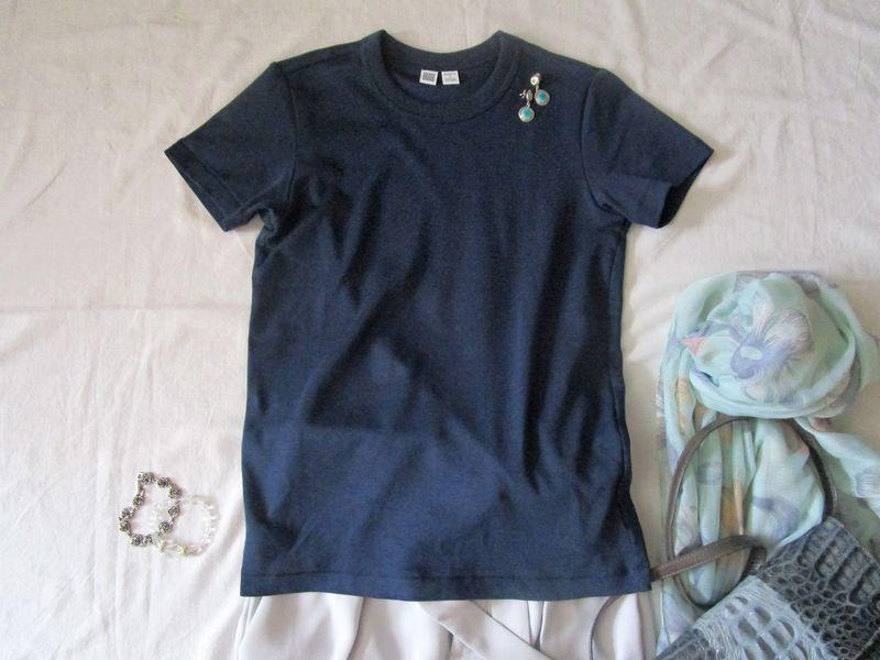 ユニクロユーのクルーネックTシャツ とワイドパンツコーデ (6)