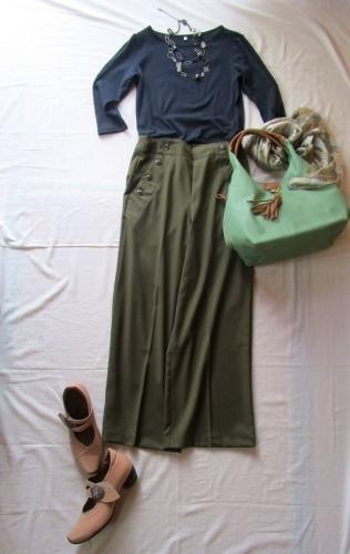 Dassinワイドパンツ無印トップス サンクリスピン靴 sacバッグ (2)