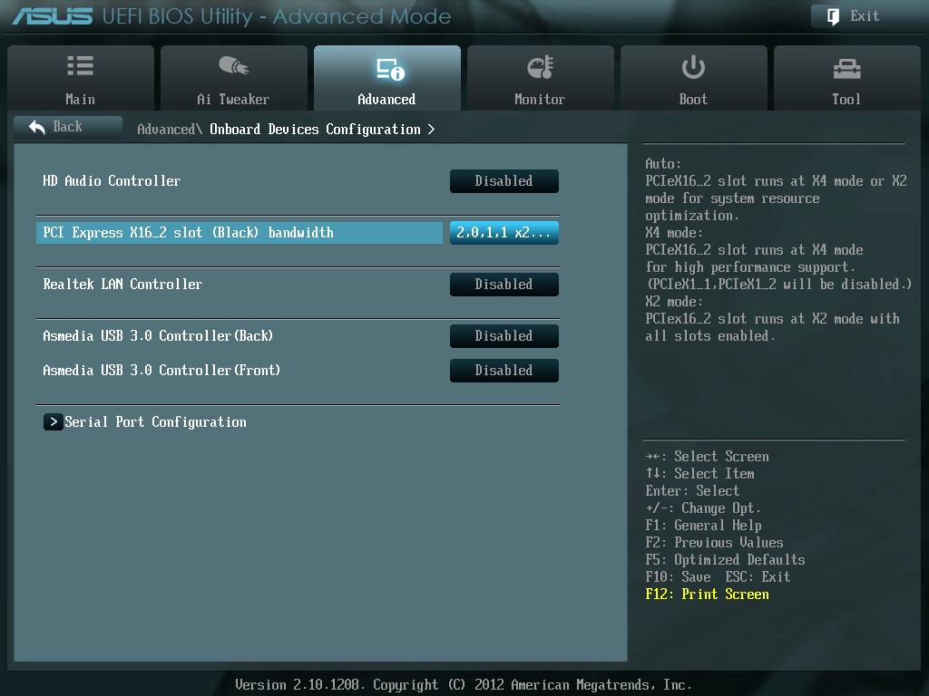 原因は ASUS P8Z68-V LE BIOS の Onboard Devices Configuration - PCI Express X16_2 slot (Black) bandwidth が X2 mode になっていたため、この項目はおそらく初期設定は Auto になっていたと思うが、SATA・USB3.0 コンボカード SYBA SD-PEX50063 を PCI Express X16_2 にインストールした際に X2 mode に変更した記憶がある、BIOS 設定の説明には X2 mode: PCIex16_2 slot runs at X2 mode with all slots enabled. とあり、オンボードデバイスの HD Audio、Realtek LAN、Asmedia USB 3.0(Back、Front) すべて Disabled していたのでこれで問題ないと踏んでいたがこれだダメだった模様