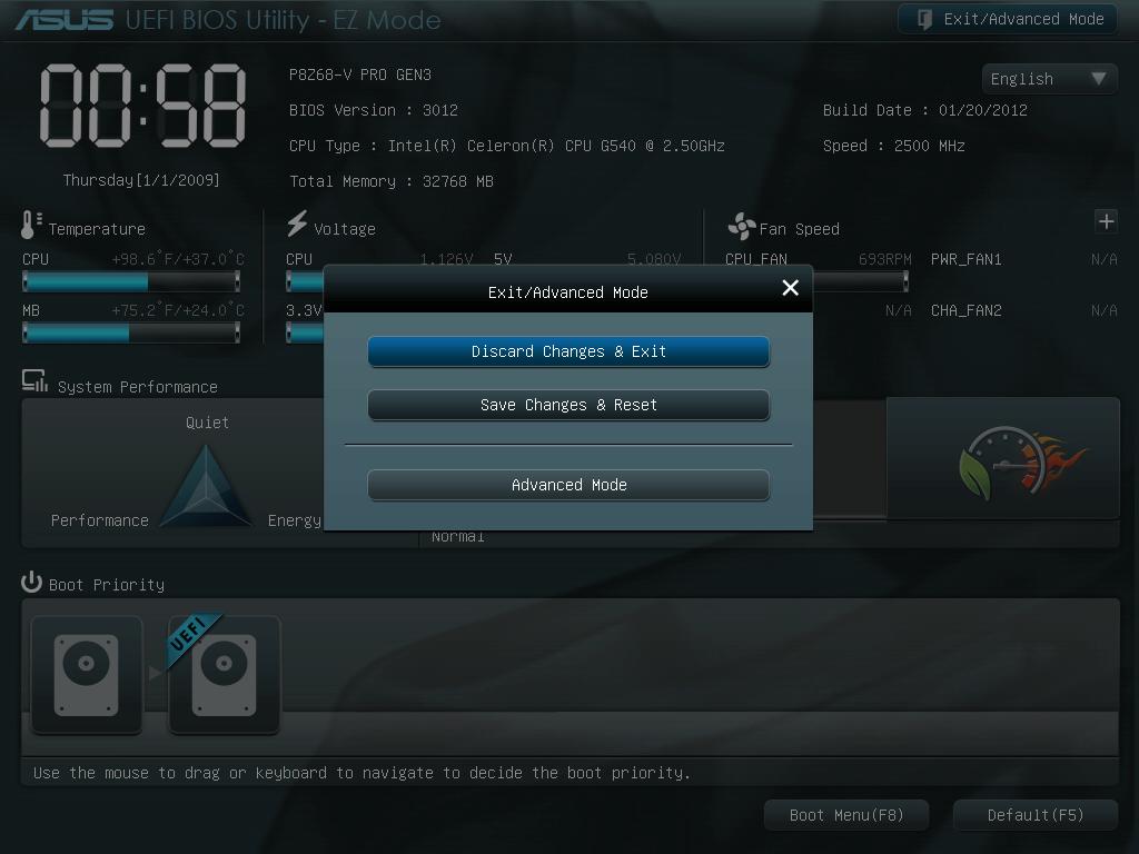 ASUS P8Z68-V PRO/GEN3 UEFI BIOS 画面 EZ Mode から Advanced Mode へ切り替える方法、「Advanced Mode」へ切り替える方法は、画像右上の「Exit/Advanced Mode」ボタンをクリック、またはキーボードの ESC キーを押して、表示されたメニューの「Advanced Mode」を選択