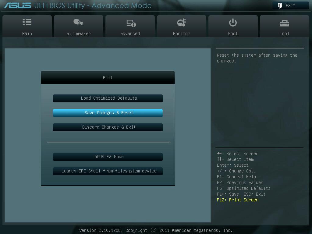ASUS P8Z68-V PRO/GEN3 UEFI BIOS 画面 Advanced Mode、System Date(カレンダー)、System Time(時刻) 設定後、画像右上の「Exit」ボタンを押すか、「ESC キー」を押してメニューを表示、「Save Changes & Reset」 を選択
