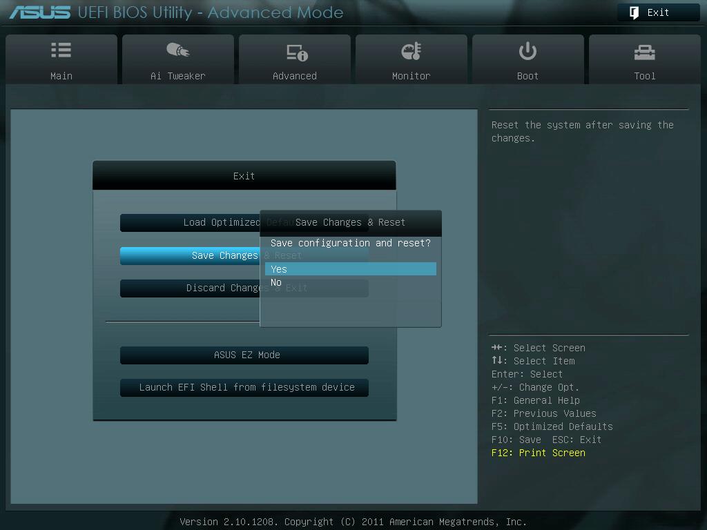 ASUS P8Z68-V PRO/GEN3 UEFI BIOS 画面 Advanced Mode、System Date(カレンダー)、System Time(時刻) 設定後、画像右上の「Exit」ボタンを押すか、「ESC キー」を押してメニューを表示、「Save Changes & Reset」 を選択、「Save configuration and reset ?」 と表示されたら「Yes」を選択、修正した内容が保存されシステムが再起動