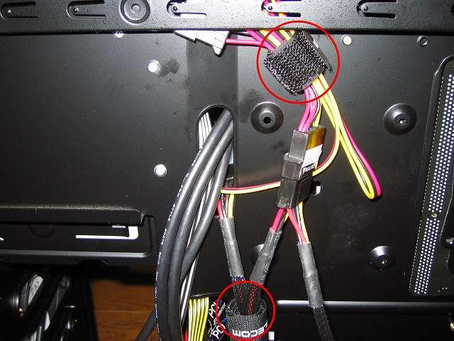 電源ユニット SilverStone STRIDER Gold Evolution SST-ST75F-G-E 3x4-Pin Peripheral connector+1x4-Pin Floppy connector プラグインケーブルやファンコントローラー NZXT SENTRY 2 電源ケーブルを ELECOM モジュラケーブル専用ケーブルストラップ MJ-CSBK でまとめる