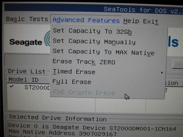 USB メモリから起動した Seagate SeaTools For DOS v2.23 - Advanded Features - Full Erase