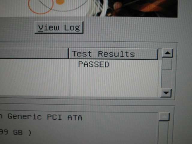 USB メモリから起動した Seagate SeaTools For DOS v2.23 - Short Test、Long Test、Acoustic Test - Test Results 「PASSED」