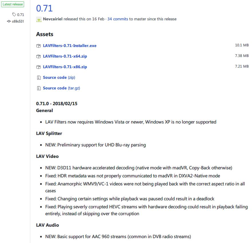 LAV Filters 0.71 ダウンロード