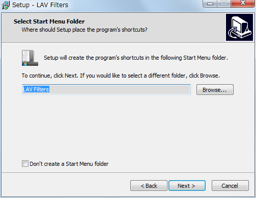 LAV Filters 0.71 インストール、Select Start Menu Folder、Next クリック