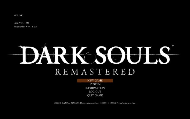 Steam DARK SOULS REMASTERED ゲームタイトル画面