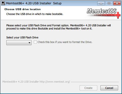 Memtest86+ インストール、USB メモリとフォーマットオプションを選択