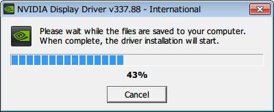 NVIDIA Geforce ドライバインストール、ドライバファイル展開中