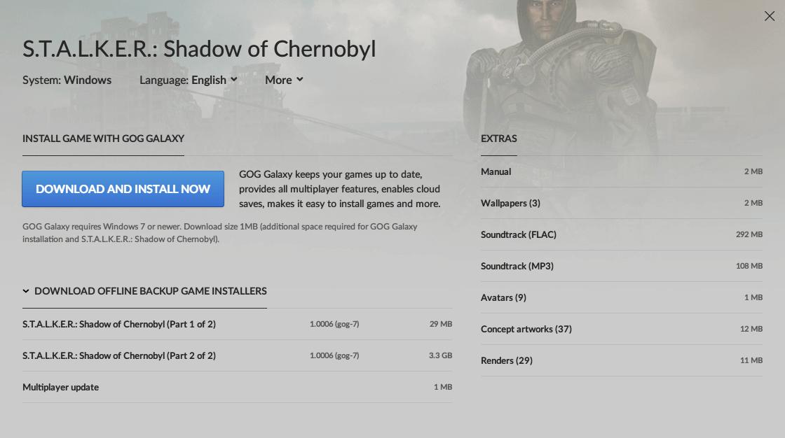 GOG 版 S.T.A.L.K.E.R. Shadow of Chernobyl (1.0006 gog-7) ダウンロード