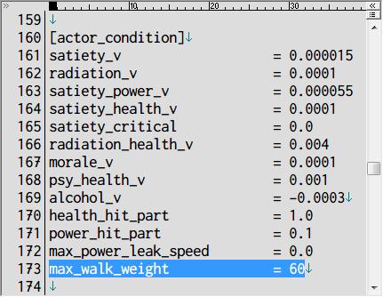 S.T.A.L.K.E.R Shadow of Chernobyl 所持重量増加 Mod、アンパックした def_gamedata → config → creatures フォルダの actor.ltx をコピーしてテキストエディタで編集、max_walk_weight が歩ける所持重量の限界値(初期値 60kg)