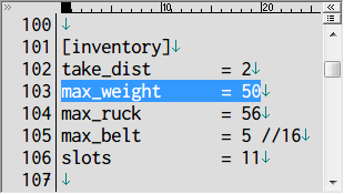 S.T.A.L.K.E.R Shadow of Chernobyl 所持重量増加 Mod、アンパックした def_gamedata → config フォルダの system.ltx をコピーしてテキストエディタで編集、[inventory] の max_weight の数値が走れる所持重量の限界値(初期値 50kg)