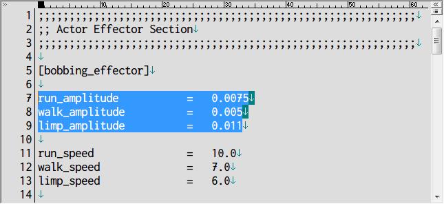 S.T.A.L.K.E.R Shadow of Chernobyl 画面揺れ修正 Mod、アンパックした def_gamedata → config → misc フォルダ effectors.ltx をコピーしてテキストエディタで編集、[bobbing_effector] の run_amplitude、walk_amplitude、limp_amplitude をすべて 0 に変更