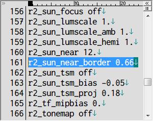 S.T.A.L.K.E.R Shadow of Chernobyl 太陽光影バグ修正 Mod、ドキュメントフォルダ → Stalker-SHOC フォルダにある user.ltx をテキストエディタで開き r2_sun_near_border を 0.66 → 1. に変更