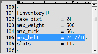 S.T.A.L.K.E.R Shadow of Chernobyl アーティファクトインベントリ改造 Mod、アンパックした def_gamedata → config フォルダの system.ltx をコピーしてテキストエディタで編集、[inventory] の max_belt を inventory_new_16.xml の dragdrop_belt、rows_num と cols_num をかけた数値に変更する、ここでは 4x6=24