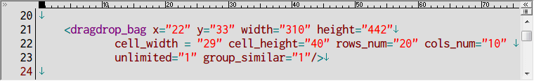 S.T.A.L.K.E.R Shadow of Chernobyl インベントリ改造 Mod、アンパックした def_gamedata フォルダから config → ui フォルダの inventory_new_16.xml をコピーしてテキストエディタで編集、dragdrop_bag の数値変更例、インベントリサイズ 20行 10列、200マス