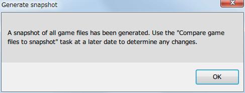 Mod 管理ソフト JSGME 2.6.0.157 使い方、Task → Generate snapshot of game files をクリックするとゲームフォルダ内にあるファイル・フォルダ状態のスナップショットを保存
