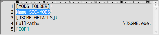 Mod 管理ソフト JSGME 2.6.0.157 インストール、JSGME.exe を起動すると Mod を管理するフォルダ作成画面が表示、GOG 版 S.T.A.L.K.E.R Shadow of Chernobyl の場合、すでに mods フォルダがあるためここでは SOC-MODS を設定、インストールフォルダに SOC-MODS フォルダと JSGME.ini ファイルが作成、Name は MOD 管理フォルダ名(ここでは SOC-MODS に設定)、FullPath は JSGME.exe がおいてあるパス名、Name と FullPath 変更可