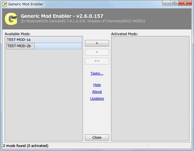 Mod 管理ソフト JSGME 2.6.0.157 使い方、ダミーファイル・フォルダを用いて JSGME の動作確認、Available Mods で Mod フォルダ名を変更することが可能