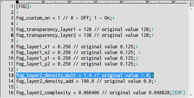 PS2 版サイレントヒル2 の霧を再現するために PC ゲーム SILENT HILL 2 インストールフォルダに Fog Fix の sh2.dll と sh2fog.ini をコピー、PS2 版サイレントヒル2 の霧再現に近づけるには fog_layer2_density_mult を 1.0 から 1.4 に変更