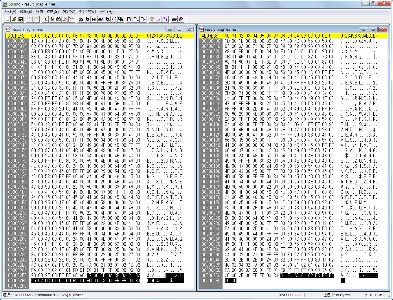 Stirling の比較機能を使って result_msg_e.mes ファイルを比較、比較対象のファイル名を指定。このツールでは選択状態(子ウィンドウがアクティブ)のファイルを基準とし、比較機能で対象のファイル(子ウィンドウで非アクティブ)を選択するようになっている。ここの比較対象で選択している result_msg_e.mes は SH2DCJ2.exe を使って ETC.MGF から抽出した result_msg_e.mes ファイル、サイズが異なる場合に表示されるメッセージ(比較元サイズ大(2ch アップ版)>比較先サイズ小(SH2DCJ2.exe 抽出版))、相違箇所一覧、ジャンプボタンをクリック、相違箇所 アドレス 2D8(000002D8)から最後まで違うことが判明、2ch アップ版 result_msg_e.mes の アドレス 2D8(000002D8)から最後までの値を、SH2DCJ2.exe を使って ETC.MGF から抽出した result_msg_e.mes ファイルの同アドレスから値を書き換えること 2ch アップ版 result_msg_e.mes にすることができる