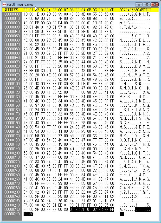 PC サイレントヒル クリア後メッセージ修正、バイナリエディタ(Stirling)で result_msg_e.mes を開き、アドレス 2D8(000002D8)から最後まで(01 FC AD 01 02 FC FF FF 00 80)をすべて書き換える