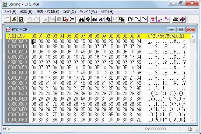 抽出ツールが公開される前のバイナリエディタを使って直接 PS2 版サイレントヒル ETC.MGF ファイルから手動で日本語データ mes ファイルを抽出する方法、バイナリエディタで ETC.MGF ファイルを開く、使用しているバイナリエディタは Stirling