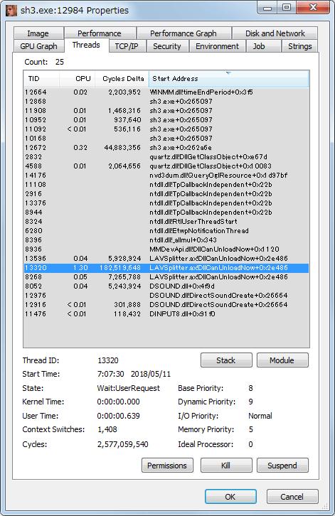 Process Explorer を使ってゲーム起動中の sh3.exe を開き Threads タブを監視してみると、ムービー再生の時点で LAVSplitter がリストに表示されているのを発見、おそらく以前インストールした LAV Filters 0.71 が影響している可能性大
