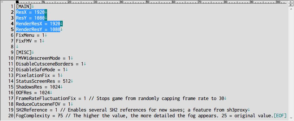 PC ゲーム SILENT HILL 3 Silent Hill 3 Widescreen Fix インストール、dinput8.dll ファイルと scripts フォルダを SILENT HILL 3 インストールフォルダに入れる、scripts フォルダにある SilentHill3.WidescreenFix.ini を開き、ディスプレイ解像度以外のゲーム画面サイズを指定したい場合は、ResX と RenderResX、ResY と RenderResY に画面サイズを入力する(画像はゲーム画面サイズ 1920x1080 を指定)