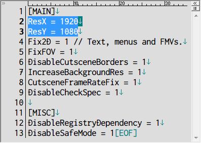 PC ゲーム SILENT HILL 4 THE ROOM Silent Hill 4: The Room Widescreen Fix インストール、scripts フォルダにある SilentHill4.WidescreenFix.ini を開き、ディスプレイ解像度以外のゲーム画面サイズを指定したい場合は、ResX と ResY に画面サイズを入力する、初期値はすべて 0(ディスプレイ解像度に合わせる)、画像はゲーム画面サイズ 1920x1080 を指定