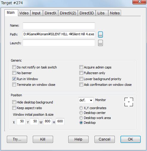 PC ゲーム SILENT HILL 4 THE ROOM DxWnd を使ってウィンドウモード設定、DxWnd メニューから Edit → Add クリック(画面内右クリックから Add も可能) Main タブで Position を設定、Desktop に設定した場合はディスプレイ解像度でウィンドウ化、ボーダーレスウィンドウ(仮想フルスクリーンモード)で起動
