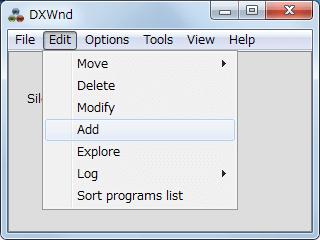 PC ゲーム SILENT HILL HOMECOMING ウィンドウモード設定 その2、DxWnd メニューから Edit → Add クリック(画面内右クリックから Add も可能)