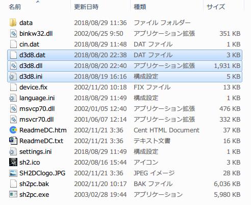 SILENT HILL 2 Enhanced Edition インストール方法と日本語化メモ、Silent Hill 2 Enhancement インストール、d3d8.dat、d3d8.dll、d3d8.ini ファイルをゲームインストールフォルダにインストール